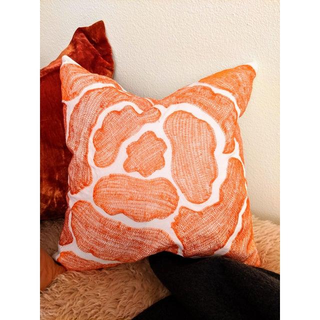 Allan Adler Modernist Abstract Orange Pillow For Sale - Image 4 of 4
