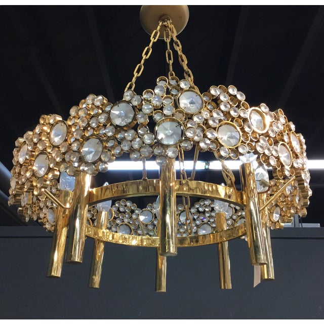 Art Nouveau Brass and Glass Eight Light Chandelier For Sale - Image 3 of 5