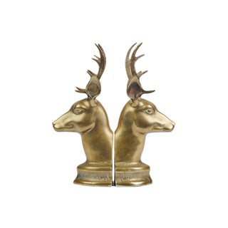 Mid-Century Brass Deer Animal Bookends - a Pair For Sale