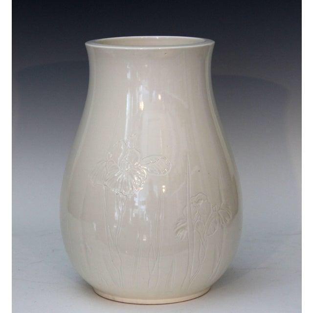 "Antique Japanese Studio porcelain Blanc de Chine vase with subtly carved iris decoration, circa 1900. Measures: 12 1/4""..."