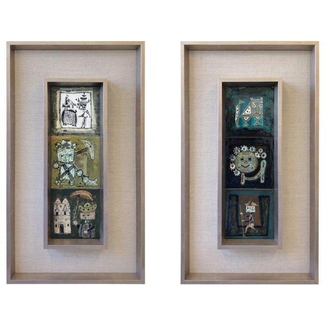 Pair of Italian Studio Ceramic Tiles by Bruno Capacci For Sale - Image 9 of 9