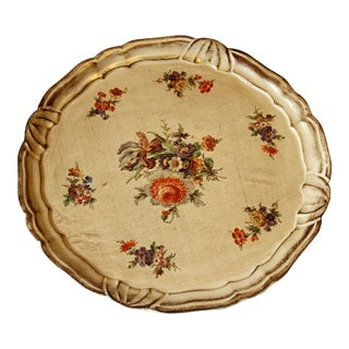 1960s Vintage Round Wooden Florentine Tray With Floral Motifs For Sale