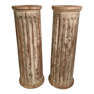 Architectural Wood Columns or Pedestals - a Pair For Sale