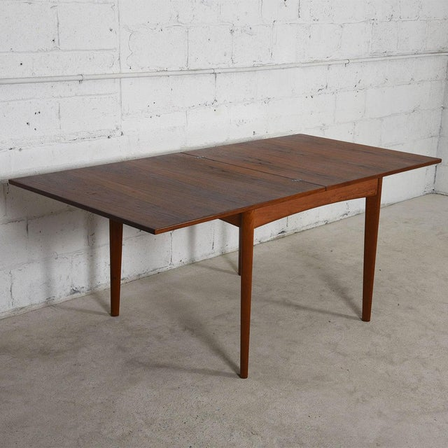 Danish Modern Teak Square to Rectangle Dining / Game Table For Sale - Image 5 of 7