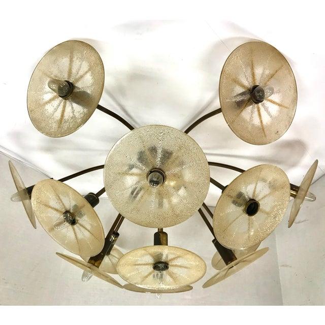Very unusual mid century modern flush mount chandelier designed by Gerald Thurston for Lightolier. Hallmarks are inside...