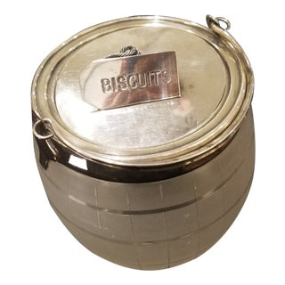 Antique English Crystal and Silver Biscuit Barrel For Sale