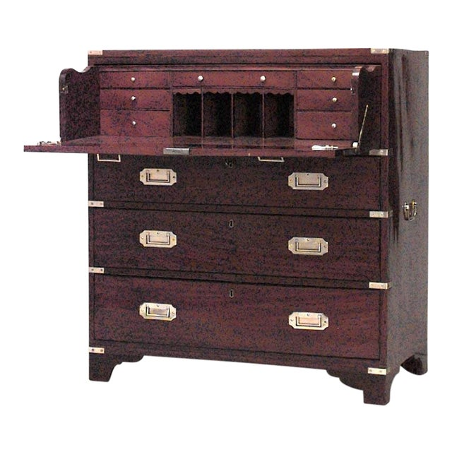 English Victorian Campaign Style Secrétaire Chest For Sale