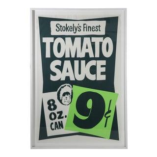 """Framed Vintage Supermarket Poster - """"Tomato Sauce"""" For Sale"""
