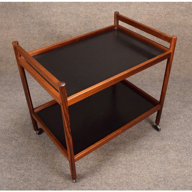1960s 1960s Danish Modern Rosewood Cocktail Bar Cart For Sale - Image 5 of 8