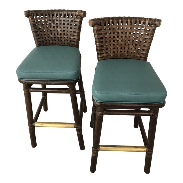 Teal Leather Like McGuire Bar Stools - a Pair For Sale