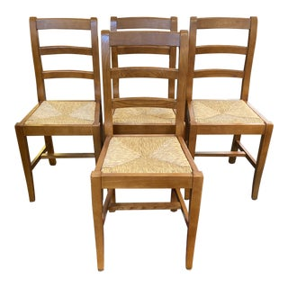 1990s Vintage Italian Rush Seat Dining Room Chairs- Set of 4 For Sale