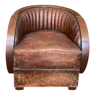 Art Deco Brown Leather Club Chair For Sale