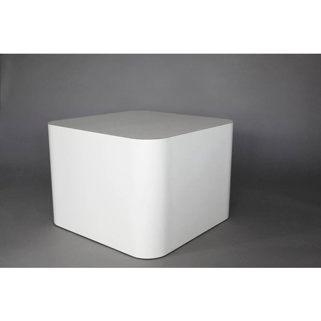 Custom-made white laminate cubic end table, pedestal or display. The laminate is pure white and not yellowed. This is the...