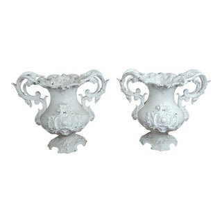 Victorian Cast Iron Urns Planters - A Pair For Sale