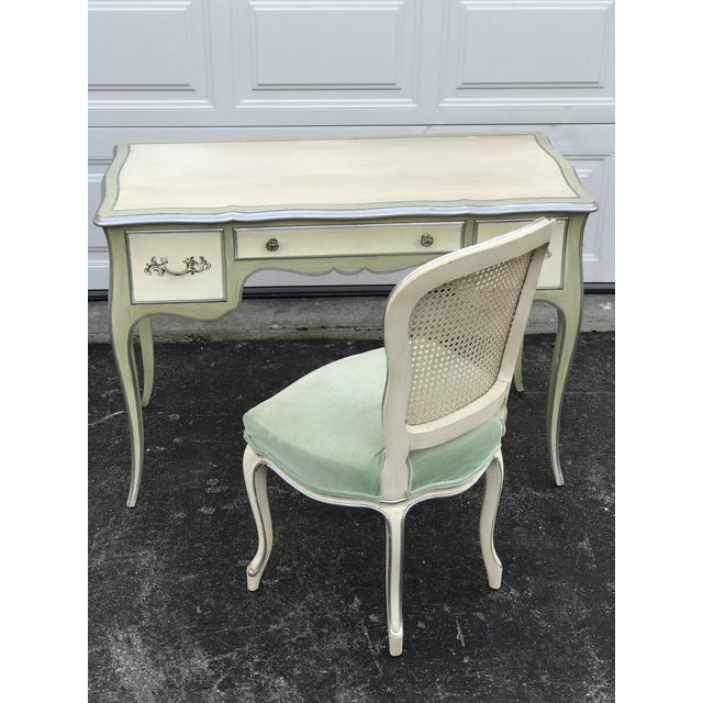John Widdicomb Mid-Century French Ladies Writing Desk and Chair For Sale - Image 12 of 12