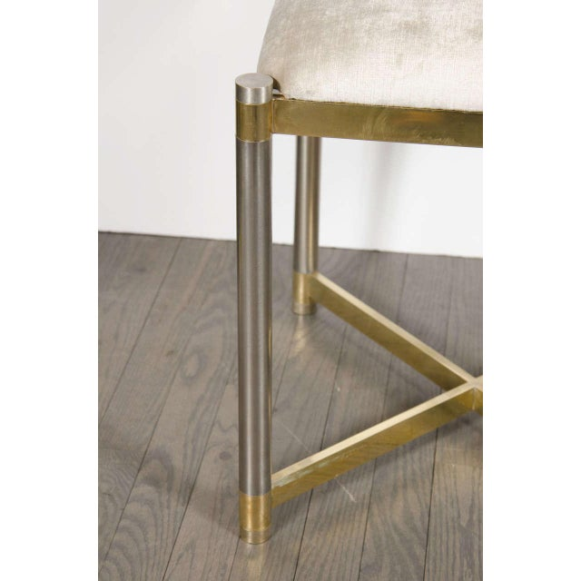 Mid-Century Modernist X-Form Stool in the Manner of Karl Springer For Sale - Image 4 of 7