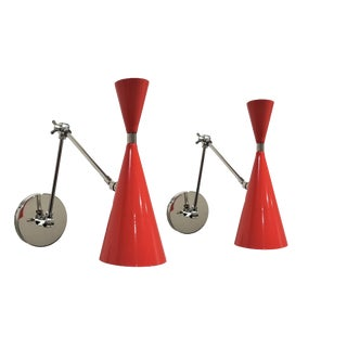 Blueprint Lighting 'Monolith' Red Orange + Polished Nickel Reading Lamps For Sale