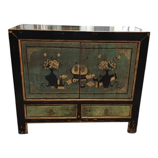 Vintage Hand Painted Asian Boho Chic Cabinet For Sale