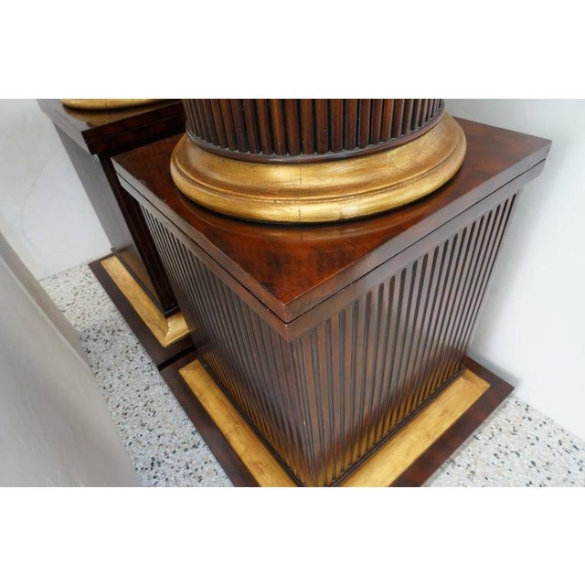 Brown Vintage English Regency Style Cabinets Column High Pedestal Form - a Pair For Sale - Image 8 of 10