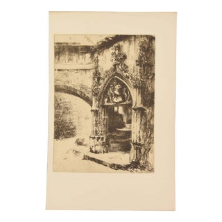 1912 Porte De La Rue Des Chaussetiers à Clermont-Ferrand Etching by Jouvet-Magron For Sale
