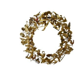Vintage Dresden Brass Holiday Wreath For Sale