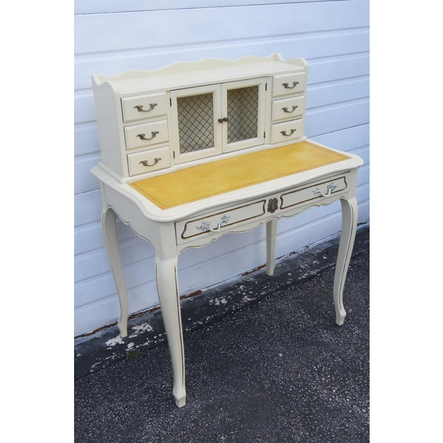 French Painted Leather Top Vanity Writing Desk With Flip Up Mirror 1272 For Sale - Image 13 of 13