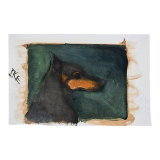 "Portrait Painting of a Black Doberman Pincher Dog on Green - 17.5"" X 12""- Signed For Sale"