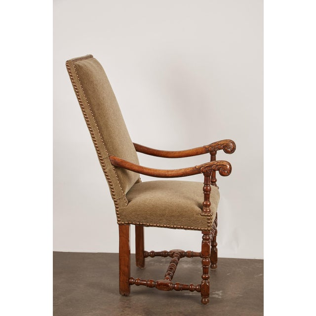 17th Century Louis XIII French Walnut Armchair with Upholstery For Sale - Image 4 of 11