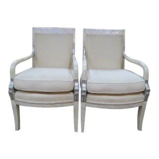 1970s Vintage Empire Style Lacquered Dolphin Arm Chairs- a Pair For Sale