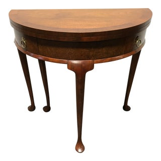 Vintage Banded Burl Walnut Gateleg Demilune Side Accent Table