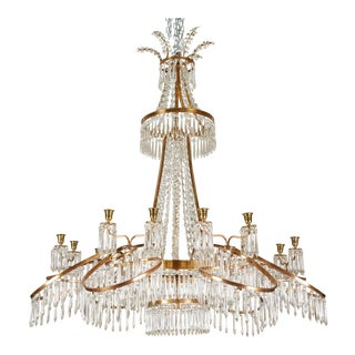 19th C. Russian Chandelier in Bronze & Crystal For Sale