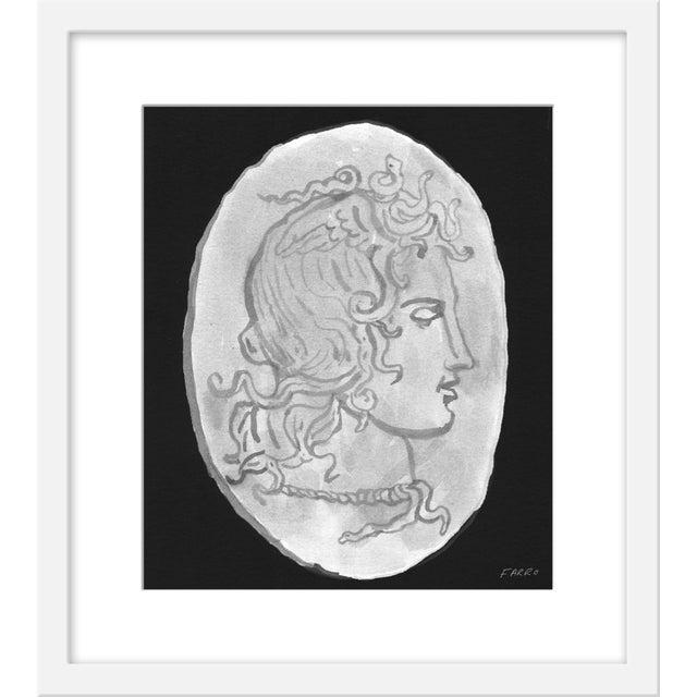 "Contemporary Small ""Medusa Black & White Coin"" Print by Michelle Farro, 17"" X 19"" For Sale - Image 3 of 3"