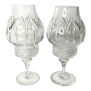 Cut Glass Hurricane Candle Holders - a Pair For Sale