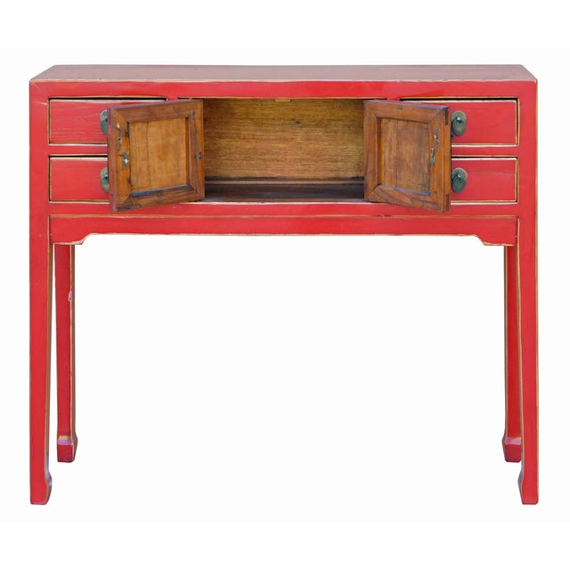 Chinese Distressed Red Narrow Hall Table For Sale - Image 4 of 6