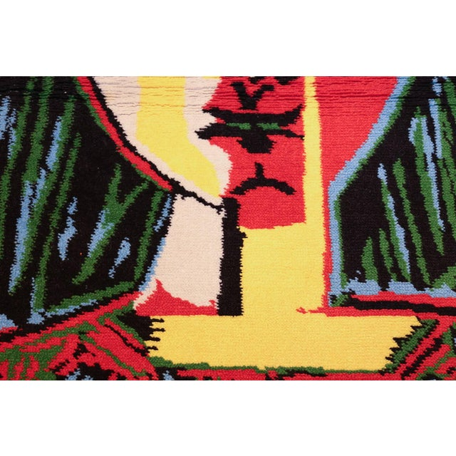 "Abstract Vintage ""Femme Au Chapeau"" After Pablo Picasso Rug - 3′ × 4′ For Sale - Image 3 of 10"