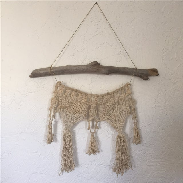 Vintage Macrame Wall Hanging on Driftwood - Image 2 of 5