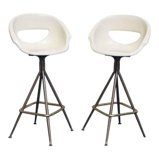 Mid-Century Modern White Bucket Seat Stools - a Pair For Sale