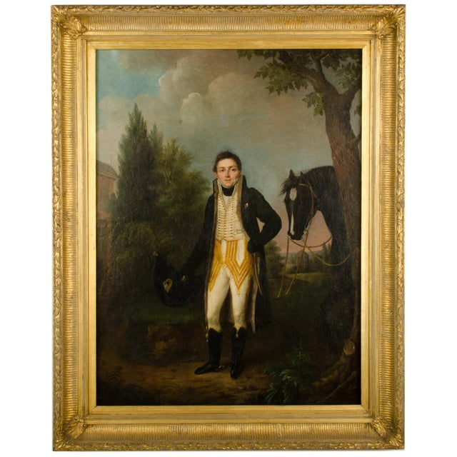 """Mid 20th Century """"Uniform with Horse"""" Figurative Oil Painting, Framed For Sale - Image 11 of 11"""