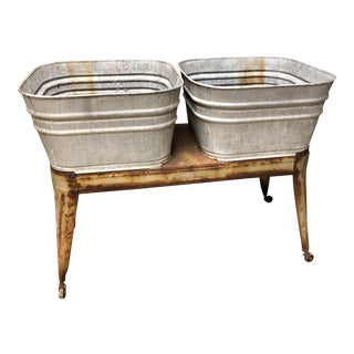 Vintage Galvanized Double Wash Tub With Stand For Sale