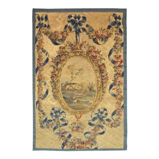 Mid 19th Century Antique French Aubusson Needlepoint Tapestry / Rug - 3′6″ × 6′9″ For Sale