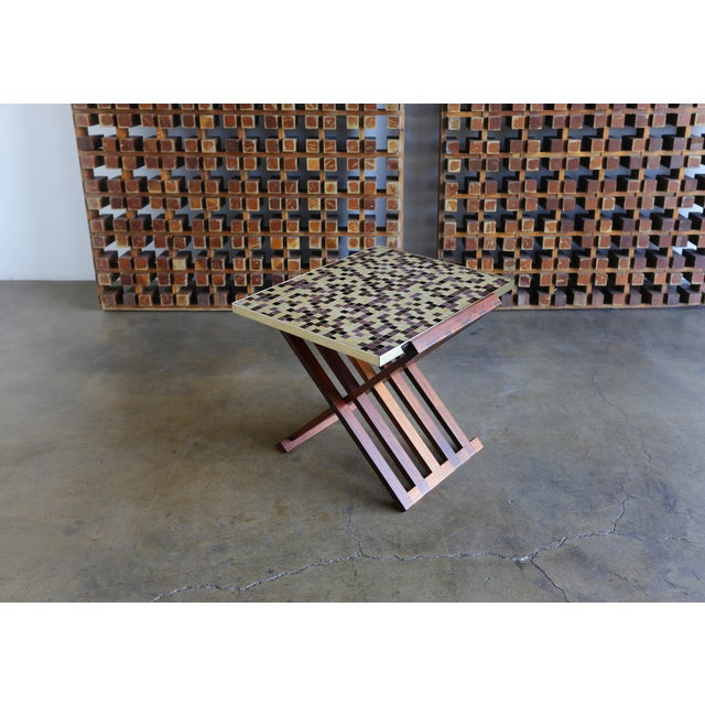 Mid Century Edward Wormley X-Base Rosewood and Murano Tile-Top Table For Sale - Image 11 of 12