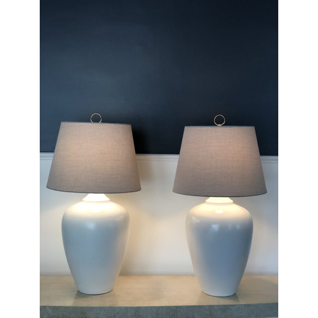 Vintage White Modernist Ceramic Lamps - a Pair For Sale - Image 4 of 5