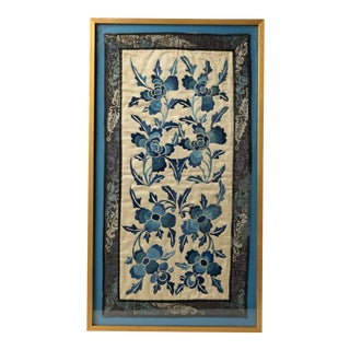 Antique Art Framed Chinoiserie Silk Embroidery Stunning Floral 19th Century Gem For Sale
