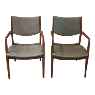 Pair of Walnut and Shagreen Leather MCM Armchairs by George Reinoehl For Sale