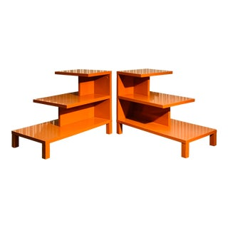 Modern Orange Lacquer Side Tables - A Pair For Sale