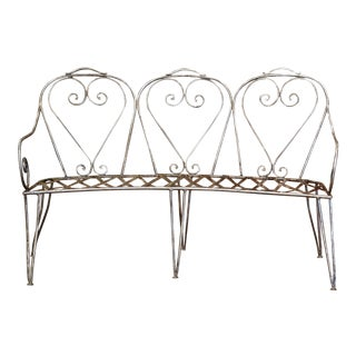 19th Century French Curved Polished Iron Three-Seat Garden Bench From Normandy For Sale