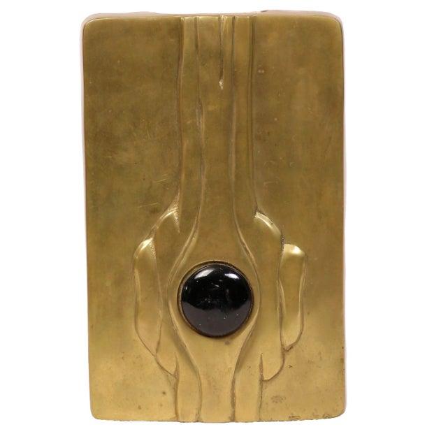 Mid-Century Modern Linear Brass Vase - Image 1 of 3