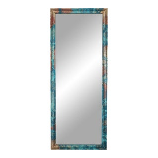 Mid Century Hand Painted Reeded Wall Mirror, Mid Century Reeded Wood Mirror For Sale