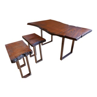 Red Wood Table Set: Dining Table and Two Coffee Table For Sale