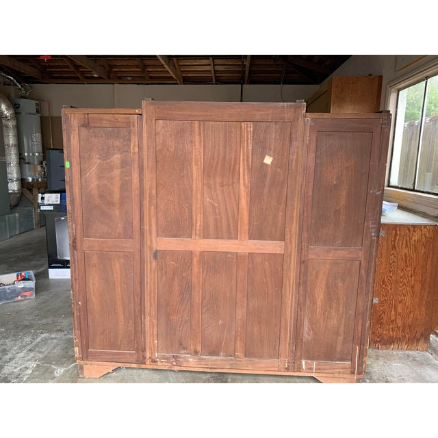 Brown 1930s Art Deco Burlwood Armoire For Sale - Image 8 of 9